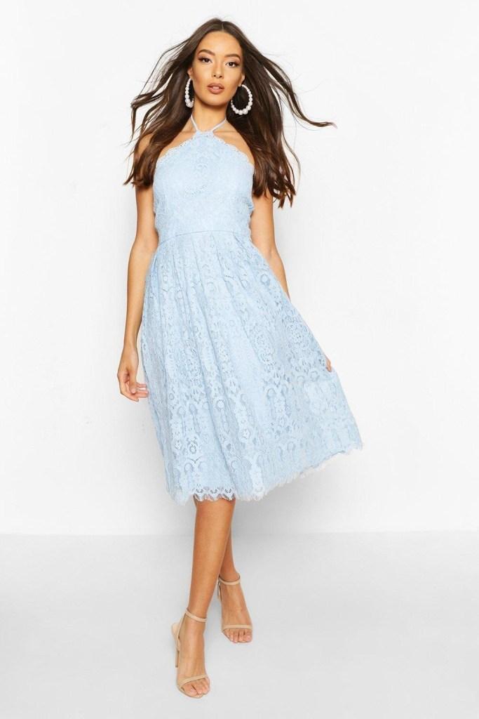 Pale blue lace midi skater dress