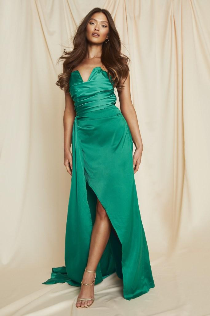 strapless emerald maxi dress