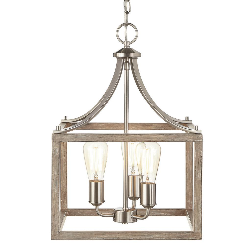 boswell quarter 14 in 3 light brushed nickel chandelier with painted weathered gray wood accents 7948hdcdi