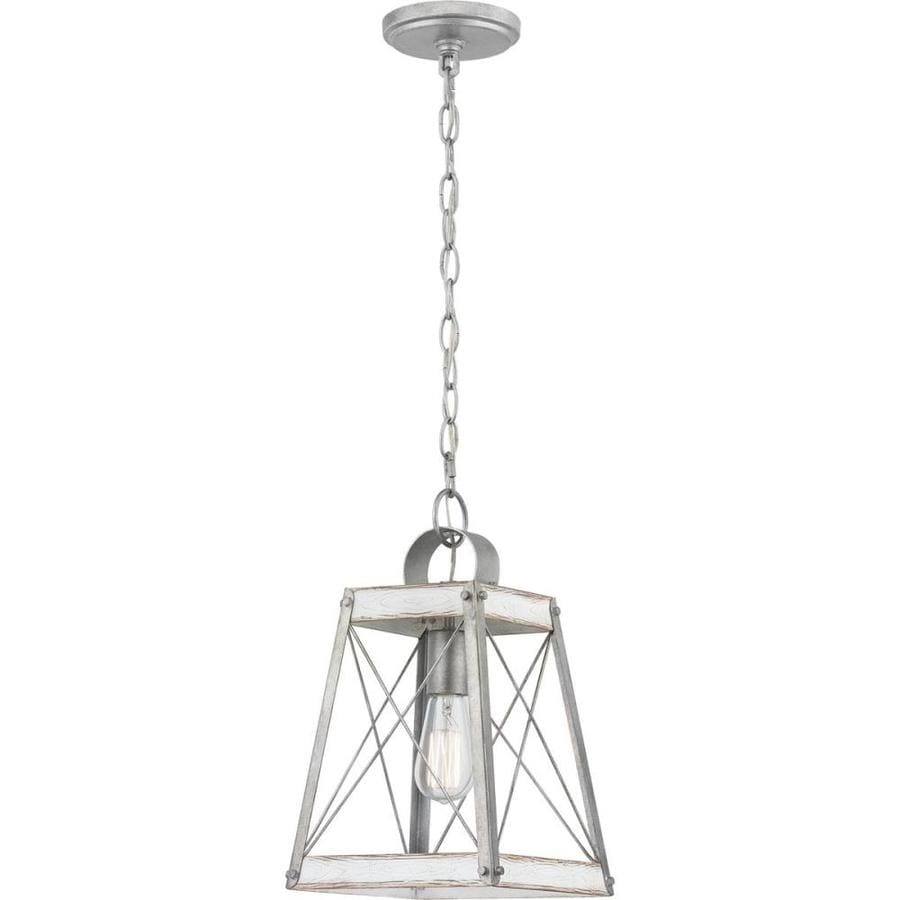 progress lighting bradberry antique white and galvanized farmhouse lantern pendant light p500211 141
