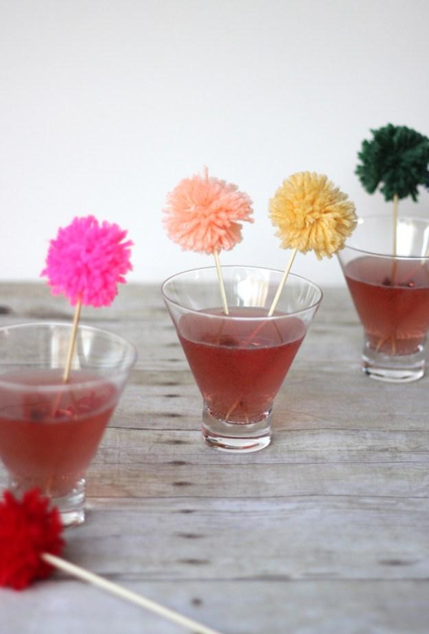 Pom pom crafts, Yarn Pom Pom Swizzle Sticks