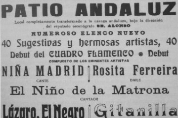 Flamenco poster from 19th century featuring artists' nicknames