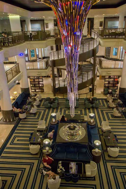 Starburst atrium on P&O Britannia on Norwegian Fjords cruise
