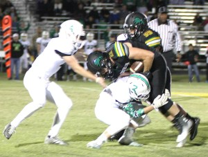 Dublin senior Travis Blazi rushed for 126 yards and two touchdowns against Clifton Friday. || Photo by BRAD KEITH
