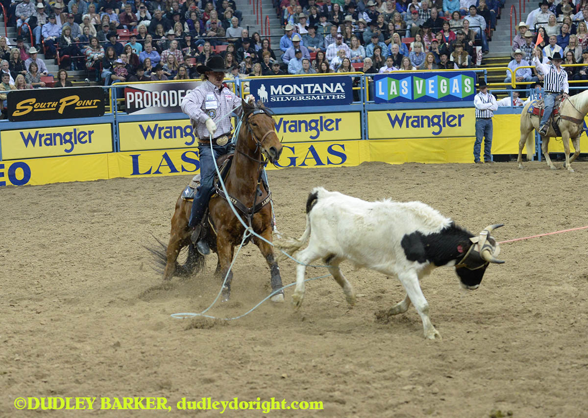Jade Corkill, round three, 2014 WNFR, Dec. 6, 2014 || Photo by DUDLEY BARKER, dudleydoright.com