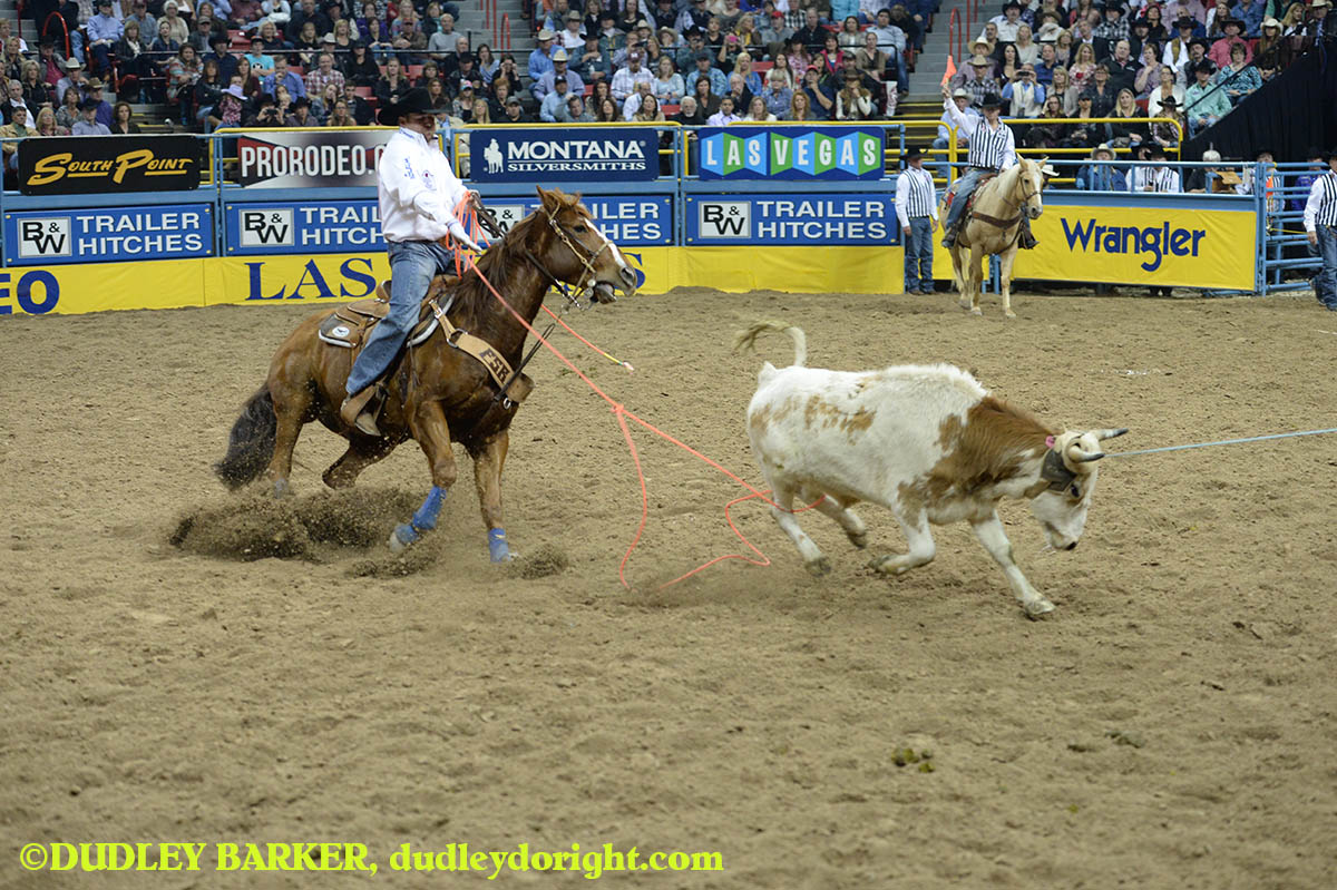 Jake Long, round three, 2014 WNFR, Dec. 6, 2014 || Photo by DUDLEY BARKER, dudleydoright.com