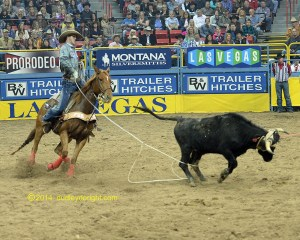 Dakota Kirchenschlager ropes the heels of a steer in the first go-round at the 2014 Wrangler National Finals Rodeo.    Photo by DUDLEY BARKER, dudleydoright.com