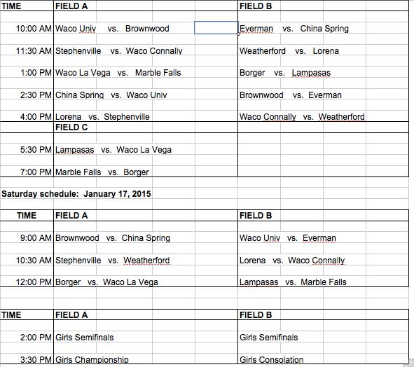 KOC Girls Schedule