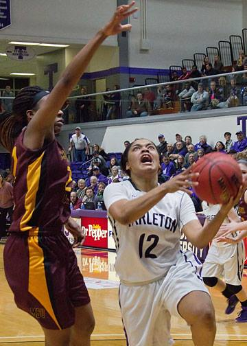 Kathy Thomas had 19 points and a crucial late steal to help Tarleton State upset No. 20 Midwestern State in a tight Lone Star Conference battle at Wisdom Gym Wednesday. || Photo by RUSSELL HUFFMAN