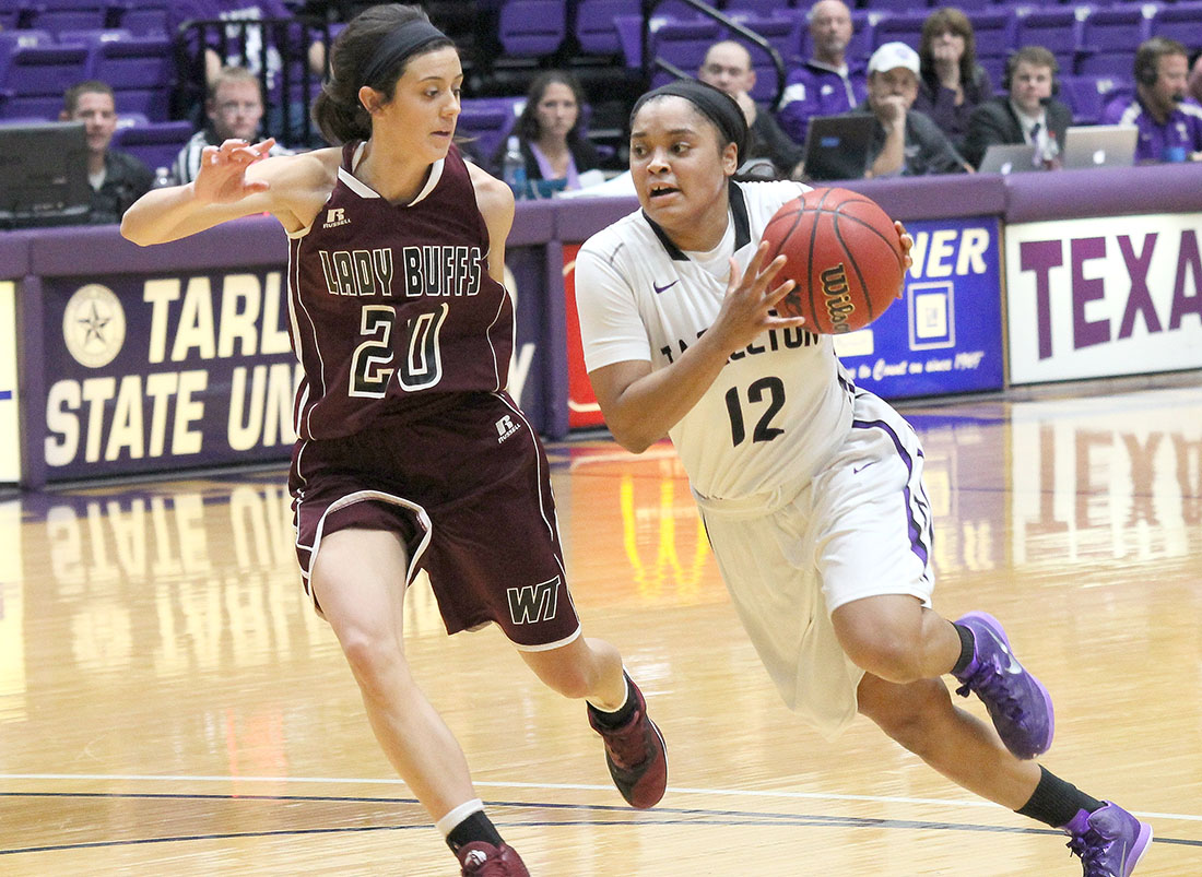Kathy Thomas had 24 points - her career high is 25 - in Tarleton's one-point overtime loss to No. 10 West Texas A&M Wednesday evening. || Photo by Dr. CHET MARTIN