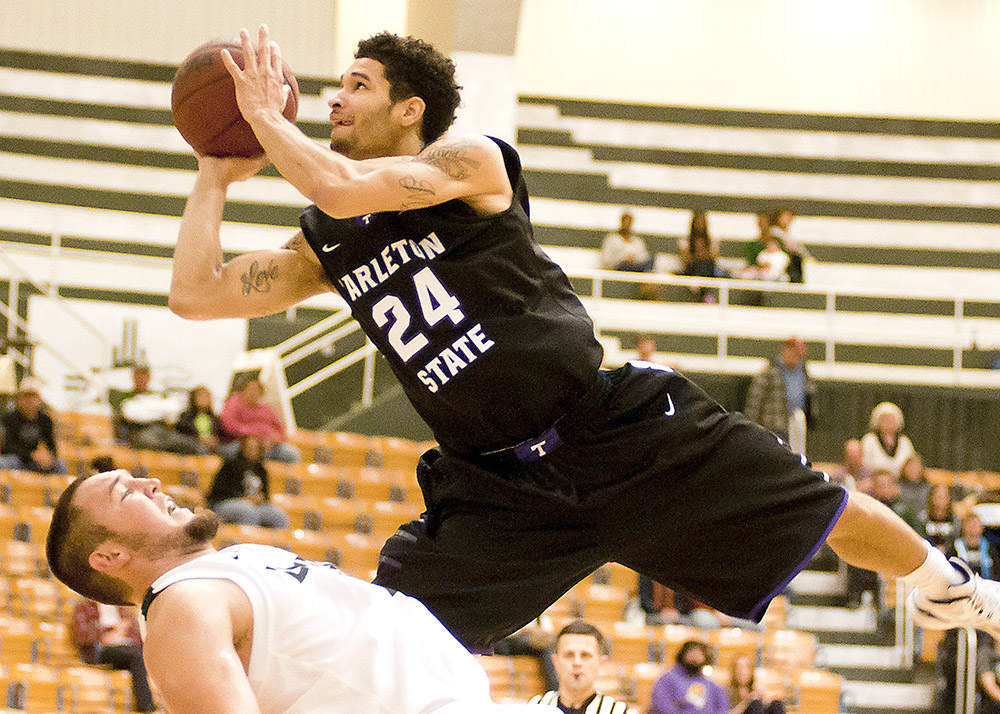Michael Hardge goes up for a leaner at Eastern New Mexico Saturday. The junior point guard nicknamed 'The Flash' scored 11 points and dealt five assists. || Photo courtesy NATHAN BURAL/Tarleton