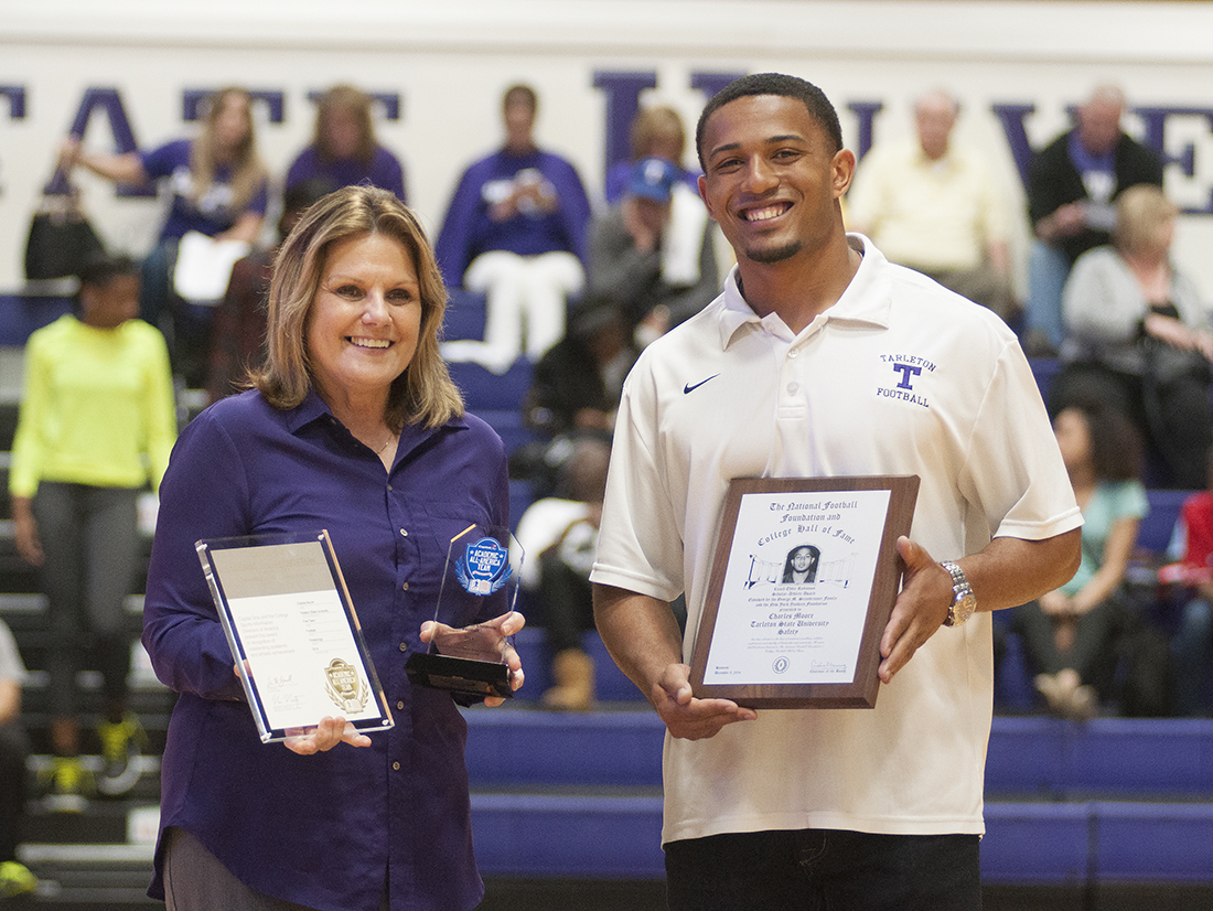 Tarleton State All-American defensive back Charles Moore, right, was recognized at Saturday's basketball games on campus for being named the National Football Foundation Scholar-Athlete of the Year. || Photo courtesy Tarleton Athletic Communications