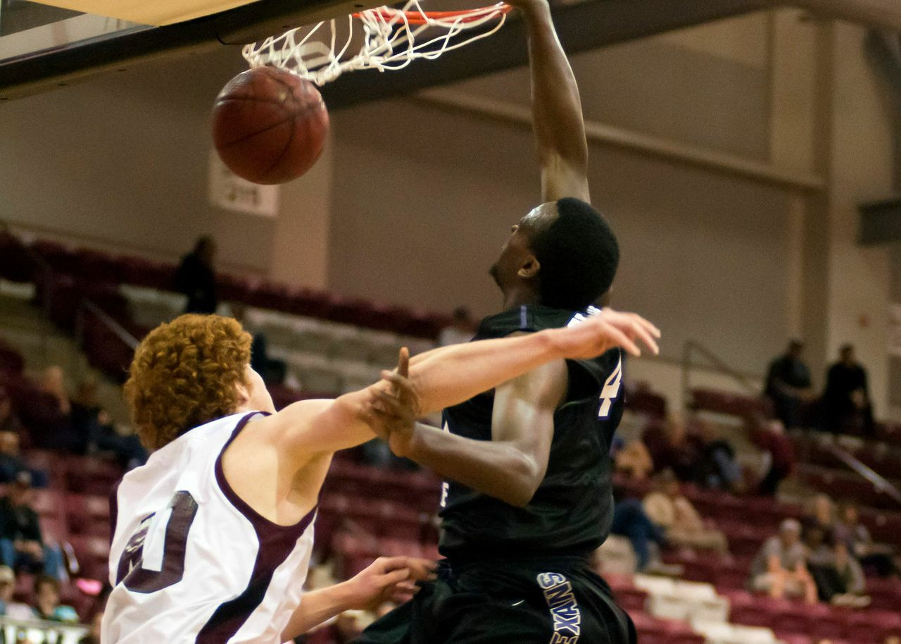 Damion Clemons fouled out late in the game Wednesday night, but not until posterizing this West Texas A&M defender with a slam dunk. || Photo courtesy  NATHAN BURAL/Tarleton