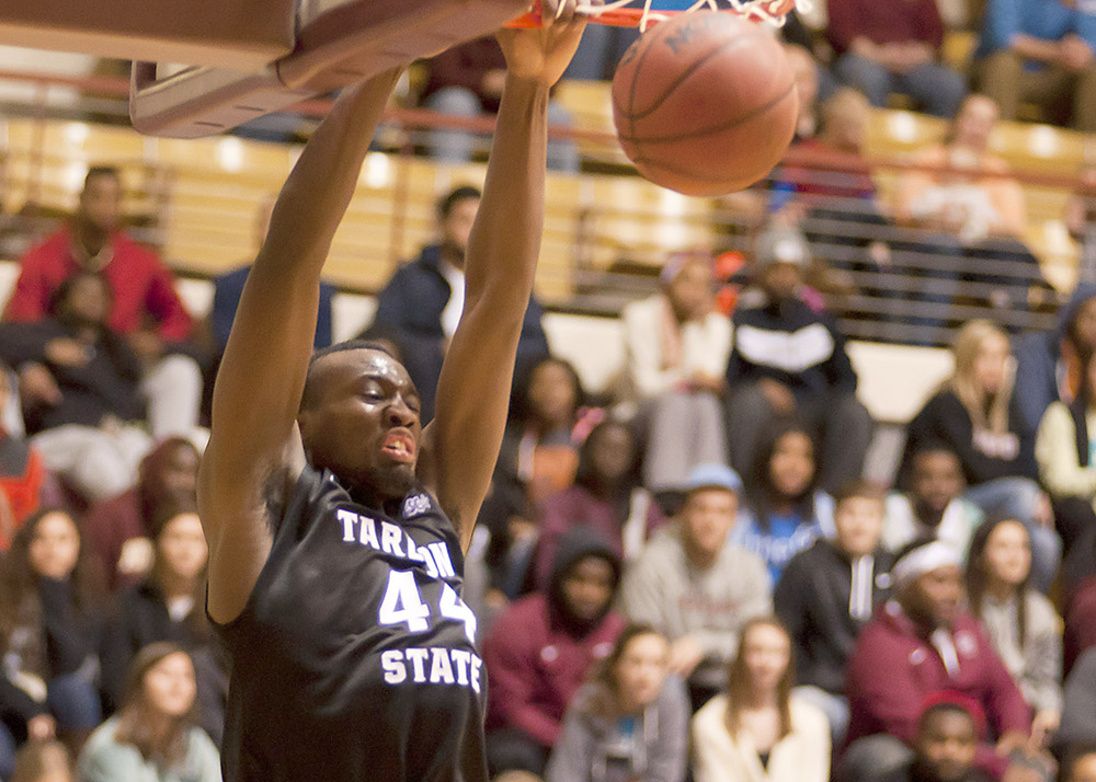 Senior forward Damion Clemons dunks home two of his six points at Midwestern State on his birthday Wednesday. He also had six rebounds and three blocked shots. || Photo courtesy NATHAN BURAL/Tarleton