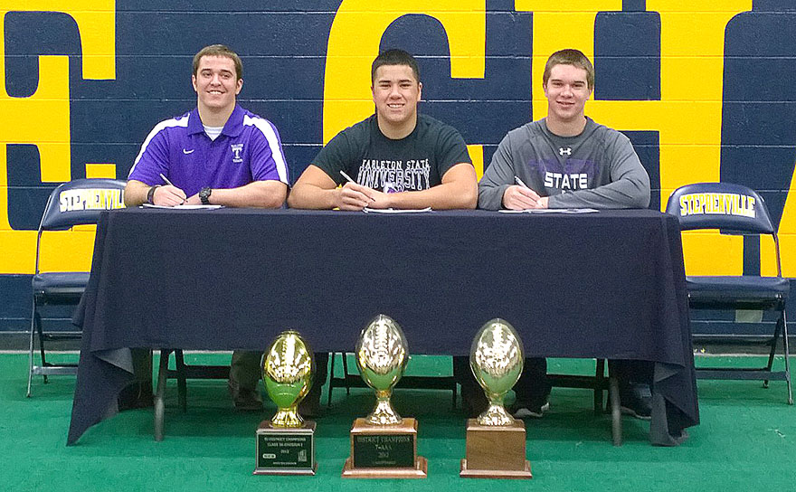 Stephenville continues to serve as fertile recruiting ground for Tarleton State football. The Texans signed (left to right) linebacker Josh Gillespie, offensive lineman Noah Perez and linebacker Justice Wisener on Wednesday. || Photo by BRAD KEITH