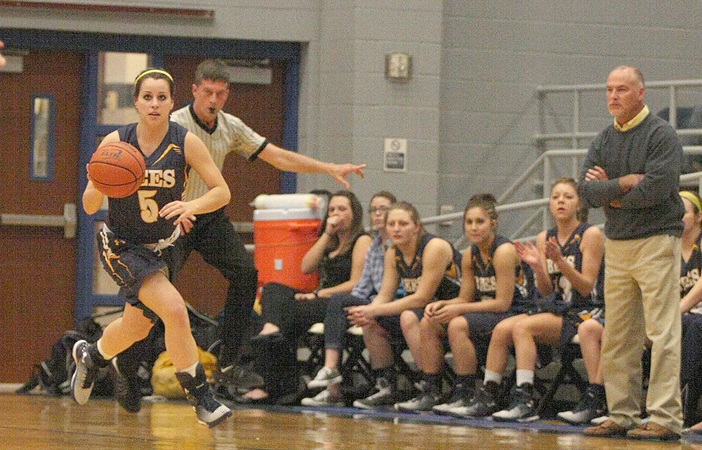 Mikayla Hobbs escapes with a steal during the first half of Stephenville's Thursday night win over Decatur at Brock High School. || Photo by BRAD KEITH