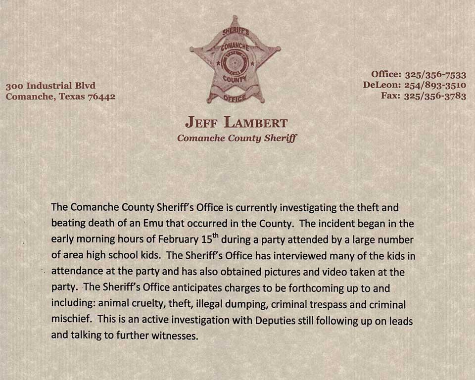 Comanche County Sheriff  press release.
