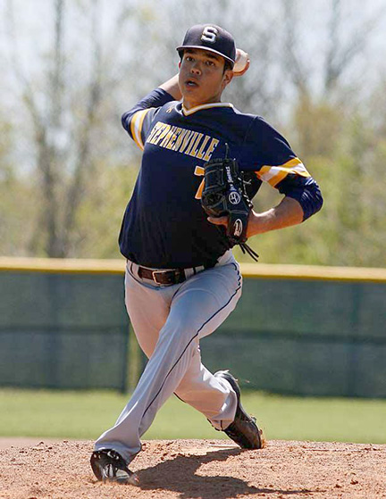 Alex Jimenez fires a pitch during Stephenville's 8-4 loss to Granbury Saturday at Young Field. || Photo by RUSSELL HUFFMAN/TheFlashToday.com