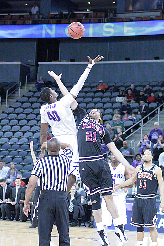 Tarleton State won the opening tipoff with Davene Carter jumping, but it was Indiana (Pa.) that ultimately won the national semifinal Thursday evening. || JESSIE HORTON/TheFlashToday.com