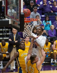 Senior forward Davene Carter scores two of his 21 points that came on 10-11 shooting in a rout of St. Mary's to begin the 2015 NCAA Division II playoffs. || Photo by RUSSELL HUFFMAN/TheFlashToday.com