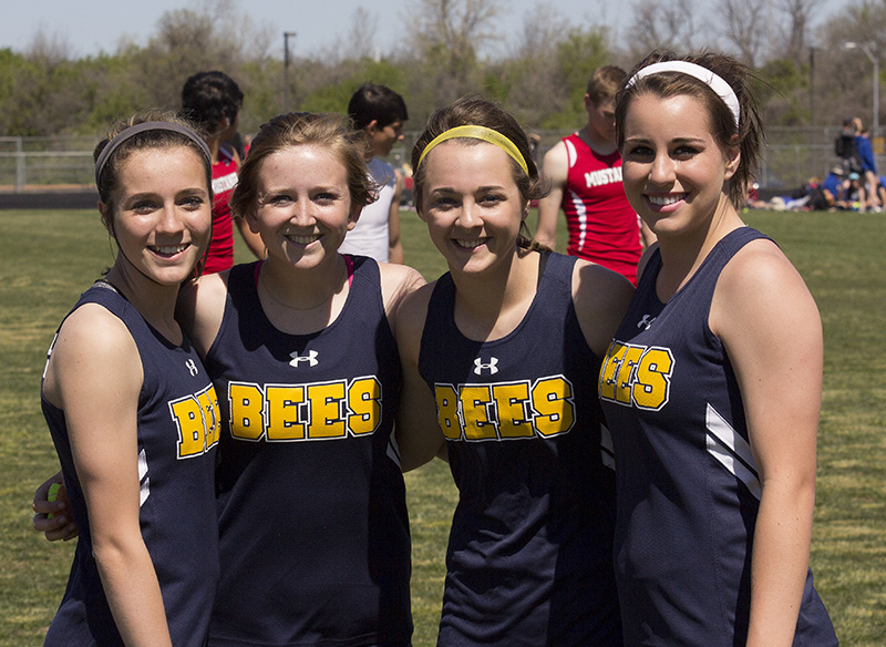 Stephenville's winning 4x100 meter relay team consisted of (left to right) Hailey Martin, Maddi Cashell, Cassidy Cline and Mikayla Hobbs. || Photo courtesy Dr. CHET MARTIN