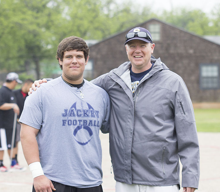 Stephenville senior shot putter Cameron Reynolds is regional bound. He's shown with coach Daniel O'Keefe. || Courtesy Dr. CHET MARTIN