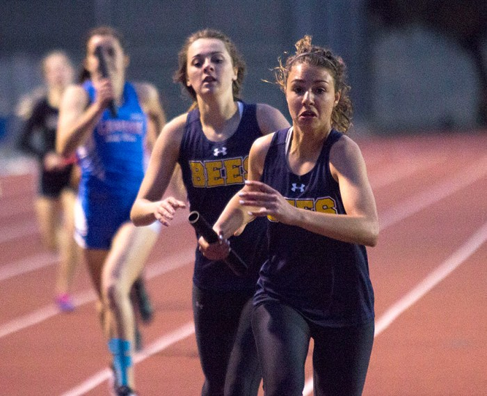 Cassidy Cline hands off to Payton Wall as the freshman begins the anchor leg of Stephenville's victorious 4x400-meter relay in Graham Thursday. || Courtesy Dr. CHET MARTIN