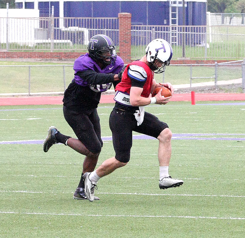 The defense had a tough morning in Saturday's Tarleton spring football scrimmage, but not EJ Speed, who continues to shine in his transition to defensive end.