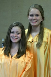 """Huckabay Jr. High valedictorian Melanie Little and salutatorian Trinity Meador. Melanie said, """"A wise senior, my brother Cade Little, told me that every book I read and every class I took is an investment in my future."""""""