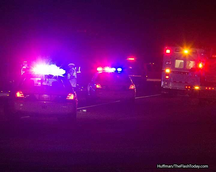 Collision between car and pedestrian on US Highway 377 between Lone Star Arena and Dazu Food Mart on Sunday, May 3, 2015. || RUSSELL HUFFMAN/TheFlashToday.com