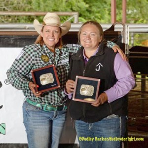 J.J. Hampton, left, and partner Danielle Darnall won the women's team roping Friday at the Windy Ryon Memorial Roping in Saginaw. || Courtesy DUDLEY BARKER/dudleydoright.com