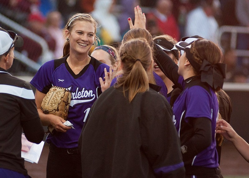 Tarleton State and Shelby Hedrick (facing camera) celebrate another big win. || Courtesy Tarleton Athletic Communications
