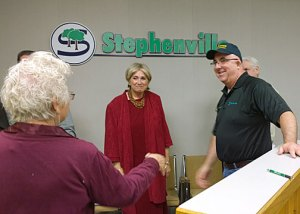 Happy times! Judy Miller looked very pleased when it was announced Pat Bridges had been hired as Stephenville's City Administrator. Councilwoman Sherry Zachery congratulates is also pictured as she moves to congratulate Bridges.