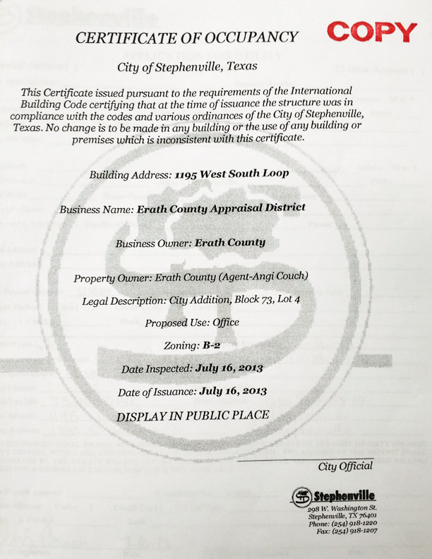 Erath County Cad Has New Certificate Of Occupancy City Faces New