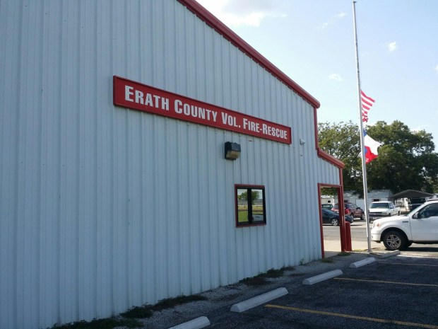 The flag is flying at half-mast outside Erath County Volunteer Fire & Rescue headquarters in honor of Dublin Voluteer Fire chief James Fritts, who passed away Tuesday. || TheFlashToday.com photo by RUSSELL HUFFMAN