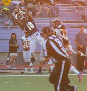 Darian Brown goes upstairs for one of his five receptions for 92 yards and a touchdown Friday. || Photo by CHET MARTIN