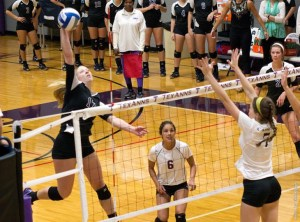 Kelsey Raglin tallied five kills, five blocks and eight digs to help Tarleton dominate Cameron at Wisdom Volleyball Gym Friday. || Courtesy CHET MARTIN