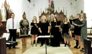 Members of the Ranger College choir perform during their annual Fall Concert on Oct. 28 at St. Rita's Catholic Church in Ranger. Members of the Ranger College Choir include (from left to right) Adam Mullin (Carbon, TX), Olivia Hudson (Humble, TX), Bryanna Byrd (New Braunfels, TX), Holly Needham (Ranger, TX), Kaci Cook (Coleman, TX), Kelsey Gwilt (Clyde, TX), Emily Roberts (Coleman, TX) and Shelby Meredith (Fort Worth, TX). Photo courtesy Ranger Colle/Stan Feaster.