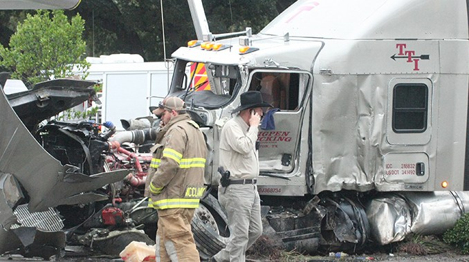 BREAKING: Collision between semis leads to explosion near