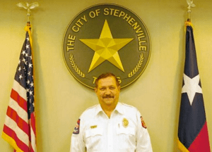 Stephenville Fire Chief Jimmy Chew has served the city for 45 years, beginning with his first day on December 1, 1970.  TheFlashToday.com photo by RUSSELL HUFFMAN