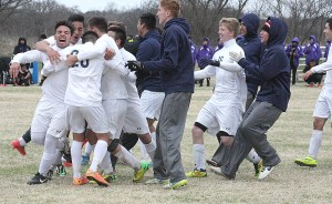 Stephenville players celebrate their stunning upset of Waco University in a penalty kick shootout after a scoreless tie to complete their championship run through the Knights of Columbus Challenge of Champions. || TheFlashToday.com photo by BRAD KEITH