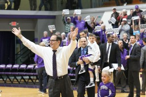 Lonn Reisman celebrates in the moments following his 600th win as head coach at Tarleton State Saturday evening at Wisdom Gym. || Courtesy CHET MARTIN