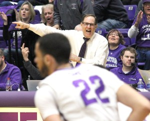 Lonn Reisman was as animated - and intense - as ever while recording his 600th win at Tarleton State Saturday evening. || Courtesy CHET MARTIN