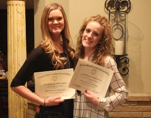 Named to the Texas Girls Coaches Association 4A All-State team were Kourtney Seaton, left, and Kaleigh Conger.