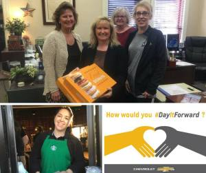 Our first employee #DayItForward! Photo: Top - Rosa delivered fresh donuts to the Erath County Clerk's Office. They're getting ready for the big day tomorrow - VOTE, Y'ALL! Bottom - Libby used her Bruner $50 to pay it forward at Starbucks. How will you #DayItForward today? || Bruner photo