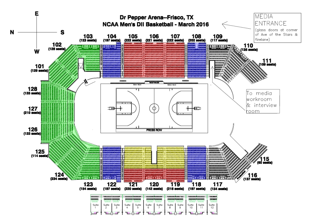 Dr Pepper Arena layout