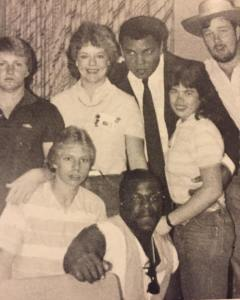 Chili Alexander, front, is shown with Muhammad Ali, back, in tie, at the San Luis Hotel in Galveston in 1985. || Courtesy CHILI ALEXANDER