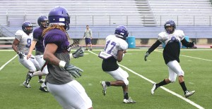 Dominique Martin's transition to cornerback from wide receiver during preseason camp included this interception on the first day Tarleton donned full pads. || TheFlashToday.com photo by BRAD KEITH