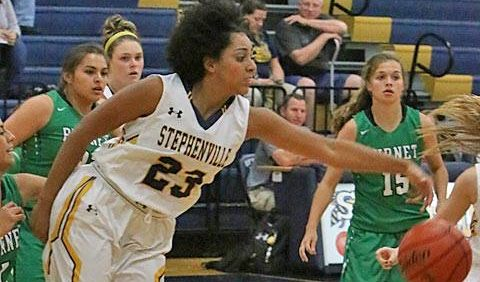 Senior guard Ebony Green was the only double-digit scorer for Stephenville as she netted 14 points in a 37-31 overtime loss to Sanger Tuesday in Whataburger Tournament Blue Division action at Saginaw High School. || TheFlashToday.com file photo by BRAD KEITH