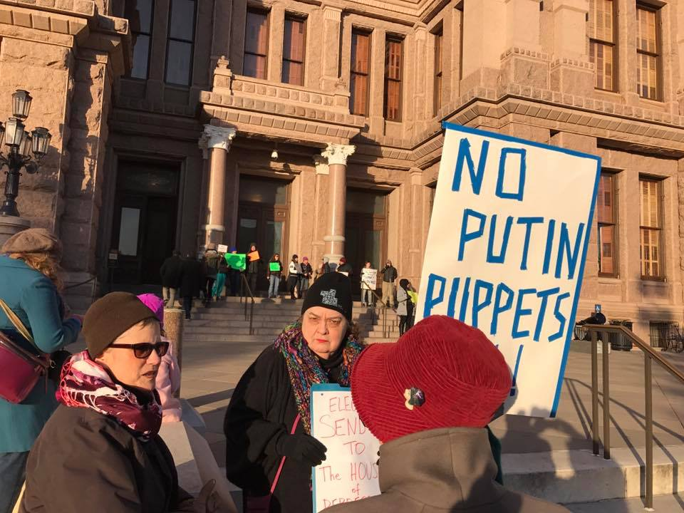 protestors gathered outside the state capital Sunday Facebook photo